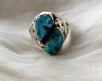 Vintage Navajo Southwestern Turquoise Sterling Silver Ring Size 10
