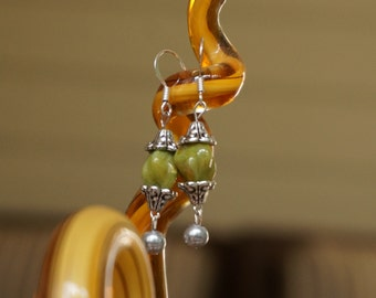 Green Beaded and Cultured Pearl Earrings by Head Over Beads