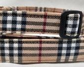 Brown Checkered Plaid Dog Collar