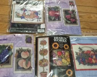 5 Vintage Fruit Themed Cross Stitch Kits
