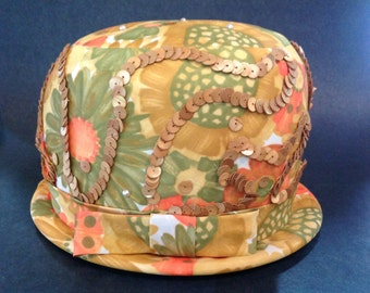 Sidonia Colorful Floral Satin Ladies Vintage 1960 - 1970's Style Retro Hat