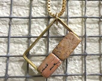 Square Cut Jasper In Riveted Brass Setting - Necklace