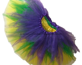 MARDI GRAS Shredded Tutu . Infant . Toddler . 4-6X Size Tutu . Purple . Yellow . Green