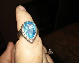 Huge Blue Topaz Sterling Ring sz 9