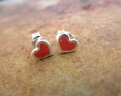 Enamel heart post earrings
