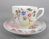 Vintage Porcelain Asian Desgn Floral Demitasse Tea Cup and Saucer