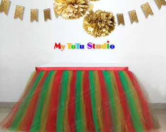Mixture Tulle Table TuTu Skirt for Lego party, Very Hungry Caterpillar party, TSK02013