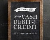 Forms of Payment Accepted Chalk Sign - 5x7, 8x10, 11x14, and 16x20 Printable .JPG Files Included! - INSTANT DOWNLOAD