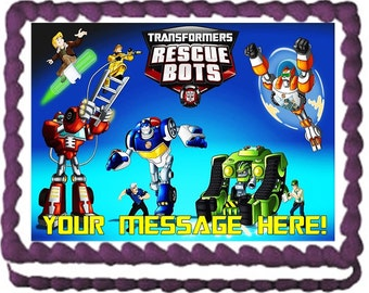 Transformers Rescue Bots Characters Edible Cake Topper Image Frosting Sheet Quarter Sheet