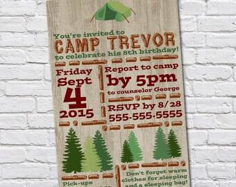 Camping Birthday Theme Invitation