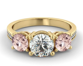 1.00 CTW Certified VS Diamond Three Stone Pink Morganite With Accent Engagement Ring 14k Yellow Gold Morganite Ring