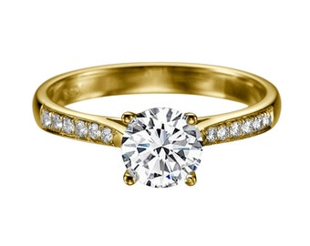 1.12ct White Sapphire and Diamonds Engagement Ring Yellow Gold 14K Cathedral Round