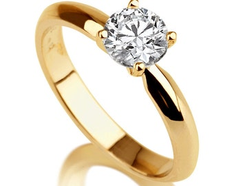 Diamond Alternative White Sapphire Engagement Ring 14K Yellow Gold 1 ct Classic Solitaire Solitaire Ring