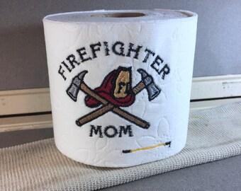 Firefighter Mom Embroidered Toilet Paper, Firefighter Gift, White Elephant Gift, Funny Gag Gift, Joke