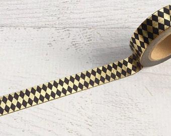 Black and Gold Foil Argyle Washi Tape 15mm x 10m