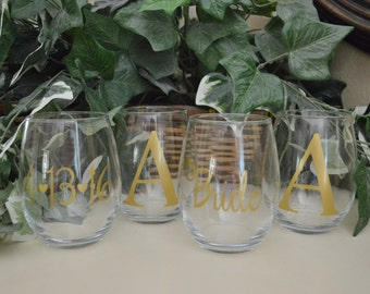 Set of 4 Personalized Bridal Stemless Wine Glasses