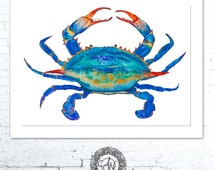 Crab Paintings, Crab Print, Maryland Blue Crab, Nautical Art Print, Ocean Life, Crab Watercolor, Beach House, Etsy Finds, Coastal Wall Art