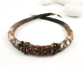 Felted necklace-Choker-Felted collar-Fiber Jewelry-Textile Necklace-brown