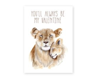 lion valentines day card valentine for mom mom and baby animals lion art