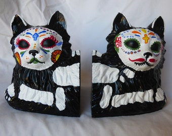 Day of the Dead Cat Bookends- Dia De Los Muertos- Hand Painted-Christmas present-sugar skull-animal bookends-cat skeleton-heavy bookends