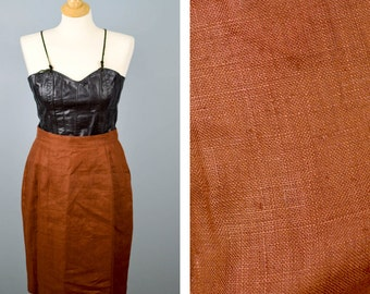 Vintage Chocolate Brown Linen Pencil Skirt, Lined Skirt, Work Attire, High Waisted Skirt, Size 10 Medium Skirt, Back to School Fashion
