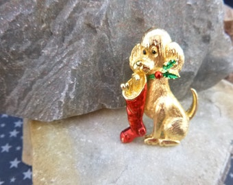 Adorable Puppy with Christmas Stocking Vintage Gerry's Pin