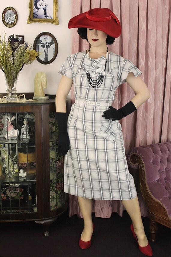 1930s Style Day Dresses 1930s Mildred / Authentic vintage reproduction / White Plaid 30s dress / XS S M L Xl $188.55 AT vintagedancer.com
