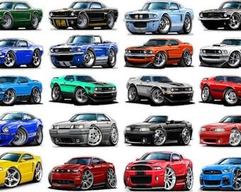 """20 FORD Mustang Decals 5""""x7"""" Peel & Stick. Mach1 Boss 302 Boss 429 Shelby SVT Cobra Supersnake"""