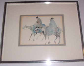 "1990 Carol Grigg ""Guardians"" Framed Reproduction Native Indian Litho Print"