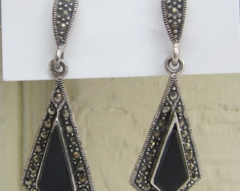 ON SALE !! Art Deco Style Drop Earrings Sterling Silver with Marcasite and Onyx