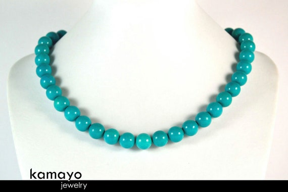 BLUE TURQUOISE NECKLACE - Round Turqoise Beads - Womens' Beaded Choker