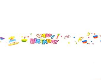 Happy Birthday Washi Tape, Washi Tape, Birthday Party Supplies, Planner Tape, Planner Washi, Planner Supplies, Scrapbook Supplies