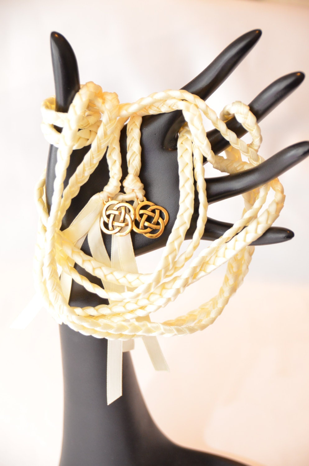 Ivory Celtic Knot Wedding Hand Fasting Binding Cord Handfasting Tying The Knot