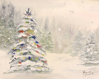 "This is a print of my original watercolor titles ""Christmas in the Forest"" Available in 5 x 7, 8 x 10, 11 x 14. wrapped canvas , cards"