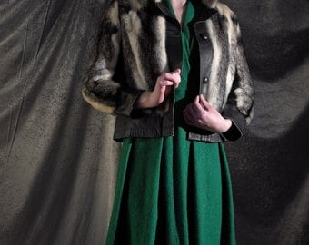 Incredible 1950s Rare luxury, highest quality striped black & white mink fur and leather jacket