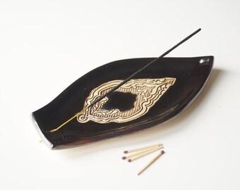 Incense Holder, Incense Burner, Black Incense Tray, Ceramics and Pottery, Handmade Incense Burner, Ceramic Plate