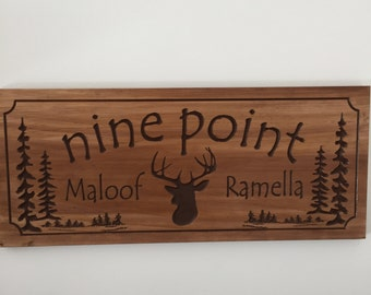 Wooden Carved hunting Sign with Deer Buck Doe Pine tree Cabin Lake House Cottage Sign Wood Carved Rustic Plaque Buck  #20
