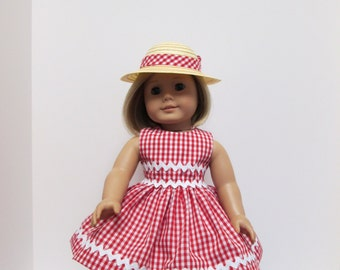 18 inch Doll clothes, Red and White Gingham Doll clothes, fits American Girl