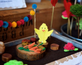 ON SALE! 20% off! Fairy garden kit, dirt free fairy garden, mess free, baby chick set.