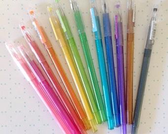 12 Piece set colored gel pens 0.5mm