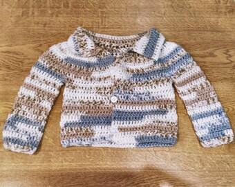 Handmade shabby chic vintage-style baby boy's cardigan. (9-12+ mos)