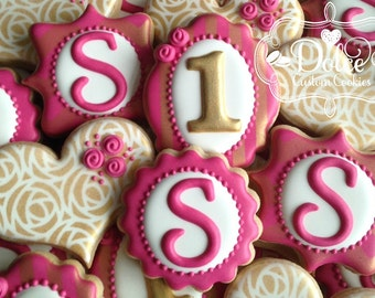 First Birthday Shabby Chic Monogram Cookies