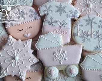 Winter Wonderland Girl Baby Shower Cookies
