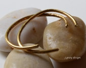 Set of Two Bronze Bangles, Forged Bronze 10g. Petite