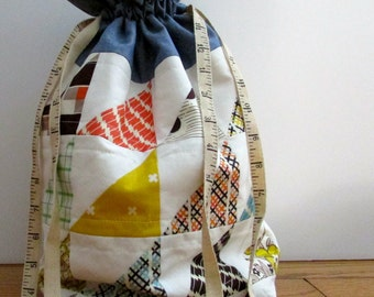 Drawstring Bag | Cosmetic Bag | Jewelry Bag | Quilted Bag | Orange, Blue, Green, Brown and Yellow Drawstring Bag | Handmade Bag