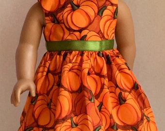 """18"""" Doll Clothes American Made Doll Dress fits 18"""" Girl Doll -  It's Fall Y'all Bright Orange Pumpkins"""