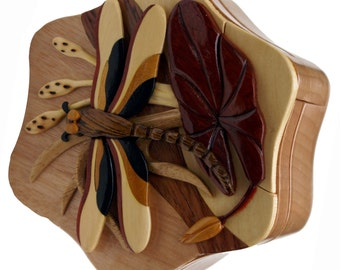 Dragonfly Wooden Intarsia Puzzle Box Crafted from Beachwood