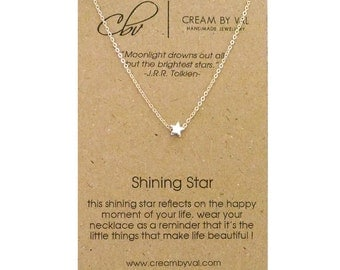 Silver Star Necklace - Shining Star Necklace Simple Dainty Necklace Congratulations Gift Under 20 Message Jewelry Meaningful Graduation