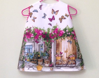 Bicycles, Baby girl dress ,  butterflies, pink, baby girl clothes,newborn Girl Dress-Flower Girl Dress