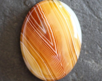 Burnt Orange and Yellow  Banded Agate Gemstone Cabochon - 30mm x 40mm